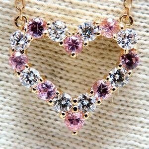 Jewelry - 1.01ct Natural Pink Sapphires Diamond Open Heart